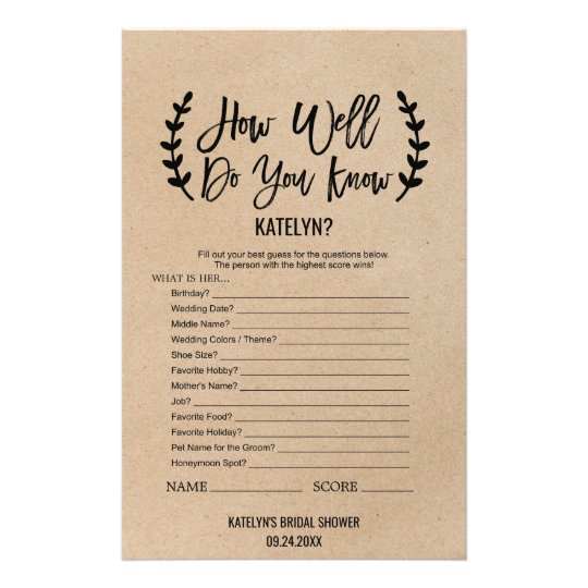 Rustic Chic How Well Do You Know The Bride Game Flyer