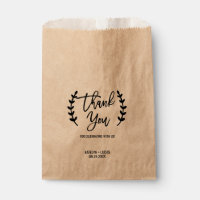 Rustic Chic Kraft Calligraphy Wedding Favor Bags
