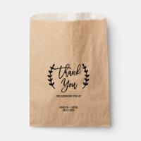Rustic Chic Kraft Calligraphy Wedding Favor Bags