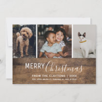 Rustic Chic Modern Multi Photo Christmas Card