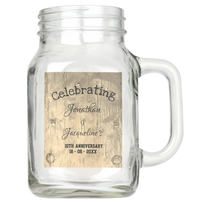 Rustic Chic Personalized Names Wedding Anniversary Mason Jar