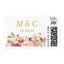 Rustic Chic Pink Floral Wedding Monogram Initials Postage