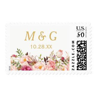 Rustic Chic Pink Floral Wedding Monogram Initials Postage