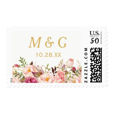 CardHunter Rustic Chic Pink Floral Wedding Monogram Initials Postage