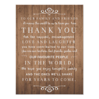 Rustic chic poster - thank you wedding sign