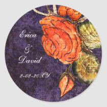Rustic Chic Purple Vintage Rose Wedding Classic Round Sticker