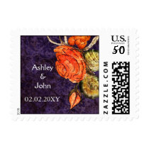 Rustic Chic Purple Vintage Rose Wedding Postage