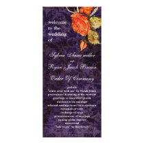 Rustic Chic Purple Vintage Rose Wedding Rack Card