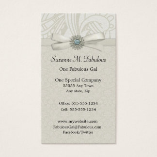 Rustic Chic Soft Green Ribbon Sparkle Business Card