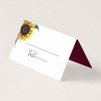 Rustic Chic Sunflower Wedding Escort Place Card