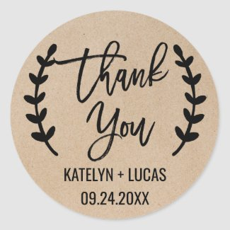 Rustic Chic Thank You Wedding Favor Stickers
