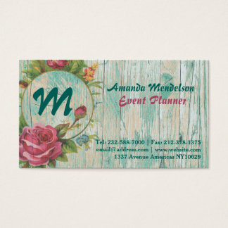 rustic chic vintage style floral monogram business card