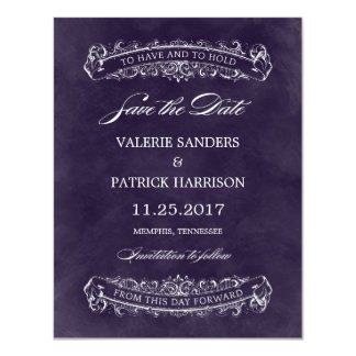 Rustic Chic Wedding Save The Date - Purple Card