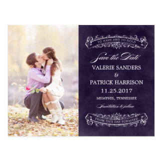 Rustic Chic Wedding Save The Date - Purple Postcard