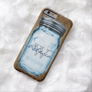 rustic chic western burlap customizable mason jar barely there iPhone 6 case