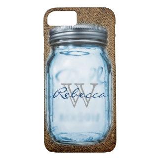 rustic chic western burlap customizable mason jar iPhone 7 case
