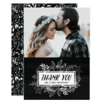 Rustic Chic White Flowers on Chalkboard Thank You Card