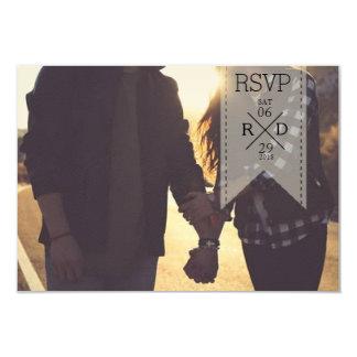 Rustic & Chic White Ribbon Overlay   Wedding RSVP Card