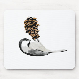 Rustic chickadee and pinecone hand created mouse pad