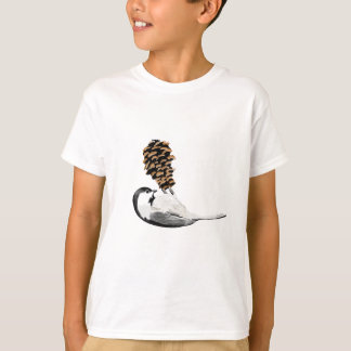 Rustic chickadee and pinecone hand created T-Shirt