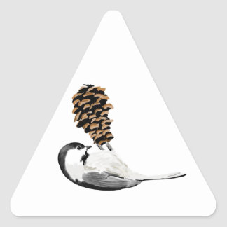 Rustic chickadee and pinecone hand created triangle sticker