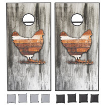 Rustic Chicken (Brown) Cornhole Set