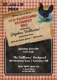 Rustic Chicken Cookout BBQ Graduation Party Invitation