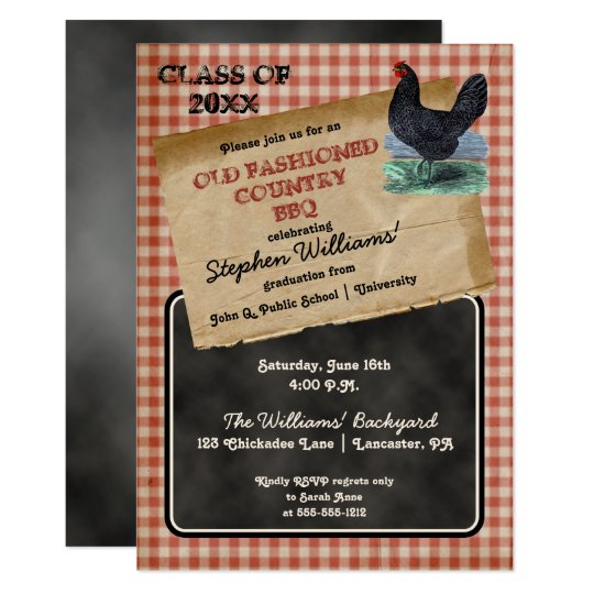 Rustic En Cookout Bbq Graduation Party Invitation