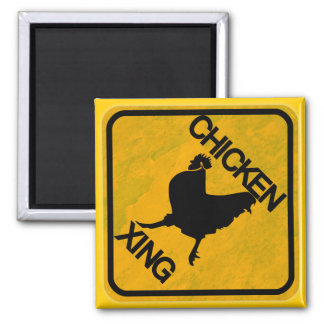 Rustic Chicken Crossing Sign 2 Inch Square Magnet