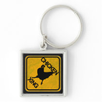 Rustic Chicken Crossing Sign Keychain
