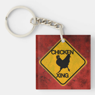Rustic Chicken Crossing Sign Double-Sided Square Acrylic Keychain