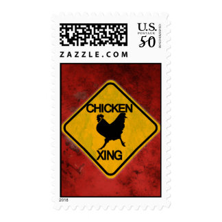 Rustic Chicken Crossing Sign Postage
