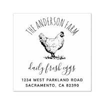 Rustic Chicken Family Farm Business Return Address Self-inking Stamp
