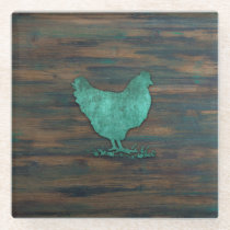 Rustic Chicken (Teal) Glass Coaster