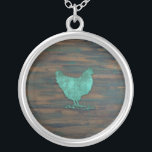 "Rustic Chicken (Teal) Silver Plated Necklace<br><div class=""desc"">Rustic Chicken (Teal)</div>"
