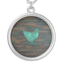 Rustic Chicken (Teal) Silver Plated Necklace