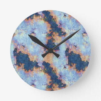 Rustic Chipped Paint Textured Pattern Round Wall Clocks