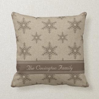 Rustic Chocolate Faux Burlap Snowflake Pattern Throw Pillows