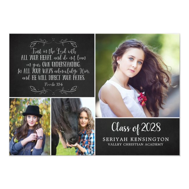 Rustic Christian Graduation Announcement Verse