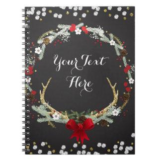 Rustic Christmas Antler Wreath Holiday Custom Notebook