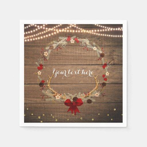 Rustic christmas antler wreath wood lights napkin zazzle for Antler christmas wreath