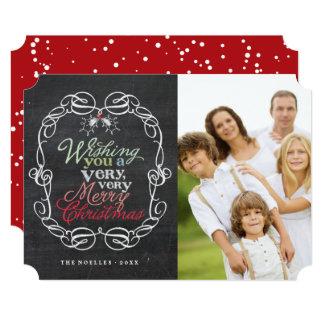 Rustic Christmas Chalkboard Mistletoes Photo Card