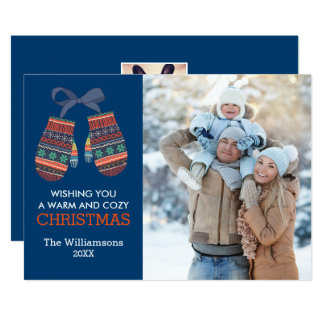 Rustic Christmas Colorful Mittens Holiday Photo Card
