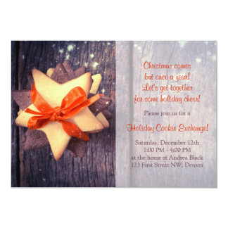 Rustic Christmas Cookie Exchange Holiday Party Card
