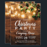 """Rustic Christmas country corporate mistletoe light Invitation<br><div class=""""desc"""">Rustic Christmas country corporate holiday party photo with brown wood,  and Christmas string lights,  red and green mistletoe photo</div>"""