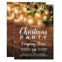 Rustic Christmas country corporate mistletoe light Invitation