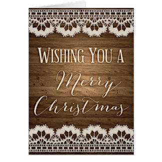 Rustic Christmas greeting card Wood and lace