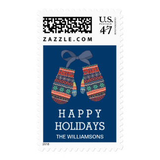 Rustic Christmas Holiday Cute Colorful Mittens Postage