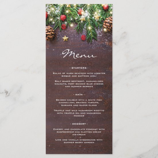 Rustic Christmas Holiday Dinner Party Menu