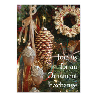 """Rustic Christmas Holiday Ornament Exchange Party 4.5"""" X 6.25"""" Invitation Card"""